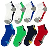 Stride Rite Boys 2-7 8-Pack Combed Cotton Socks S Blue, Navy, Gray, Green, Red & White