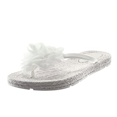Angkorly Sandale Fleurs Souple Slip Femme On Chaussure Mode Tong edxBoC