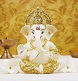 Gold Art India Gold Plated Terracotta Ganesha Idol (Off White)