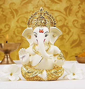 Buy Gold Art India Gold Plated Terracotta Ganesha Idol Off White