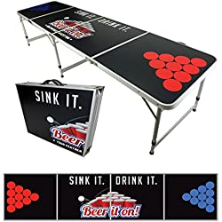 NEW 8' BEER PONG TABLE ALUMINUM PORTABLE ADJUSTABLE FOLDING INDOOR OUTDOOR TAILGATE PARTY GAME DRINK IT SINK IT #12