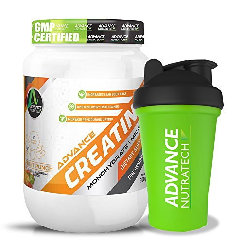 Combo Creatine Monohydrate flavored 300 gm With Shaker by ADVANCE NUTRATECH