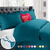 Nestl Bedding Duvet Cover, Protects and Covers your Comforter / Duvet Insert, Luxury 100% Super Soft Microfiber, Queen Size, Color Teal Blue, 3 Piece Duvet Cover Set Includes 2 Pillow Shams