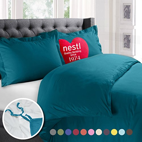 Nestl Bedding Duvet Cover, Protects and Covers your Comforter / Duvet Insert, Luxury 100% Super Soft Microfiber, King Size, Color Teal Blue, 3 Piece Duvet Cover Set Includes 2 Pillow Shams (Comforter Set King Pillow)