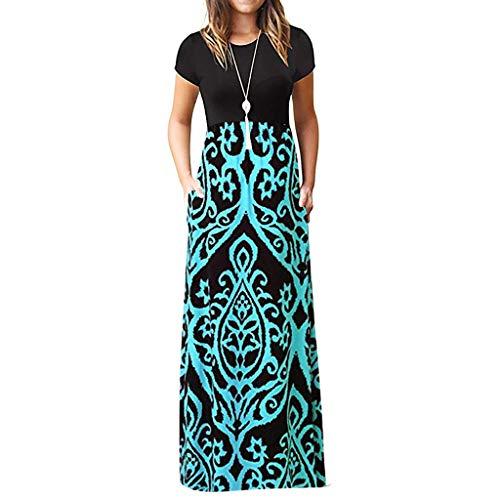 (Women Summer Dress,Womens Casual Dress Sleeveless Wave Striped Scoop Neck Tank Maxi Long Dress 2019)