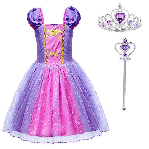 Dressing Up Fairies (HenzWorld Girls Princess Rapunzel Dresses Fairy Tales Dress up Halloween Costume Cosplay Party Jewelry Wand Tiara Accessories Set 4-5)