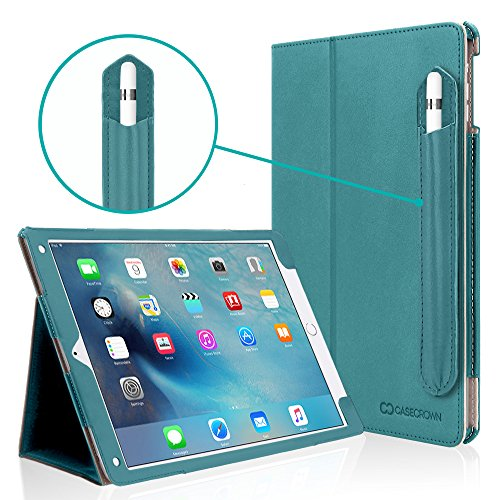 iPad Pro 9.7 Case, [Corner Protection] CaseCrown Bold Standby Pro (Arctic/Teal) Case w/Apple Pencil Holder - Black, Sleep/Wake, Hand Grip, Multi-Angle Viewing Stand