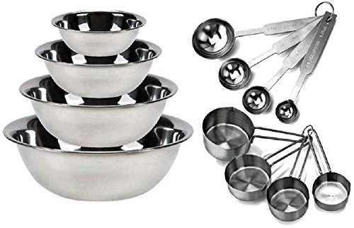 Kitchen Mission Stainless Steel Mixing Bowls 1.5,3,4, and 5 Quart. Plus Measuring Cup and Spoon Sets, Set of 6 (Complete Set) Acorn Spoon