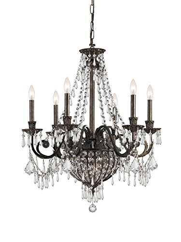Crystorama 5166-EB-CL-MWP Crystal Accents Six Light Chandeliers from Vanderbilt collection in Bronze/Darkfinish, (6 Crystal Collection Light)