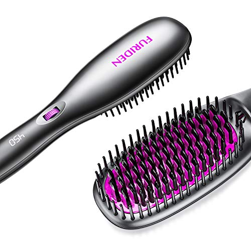 FURIDEN Hair Straightener Brush, Hair Straightening Brush for Thick Curly Hair, Ceramic Heating, Auto Temperature Lock and Auto-Off Function, Dual Voltage Hair Straightening Comb for Home and Travel