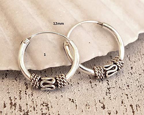 (Pair of 12mm Sterling Silver Hoop Earrings, Handmade Hoop Earrings for Women, bali hoop earrings sterling silver, Sterling Silver Hoops)