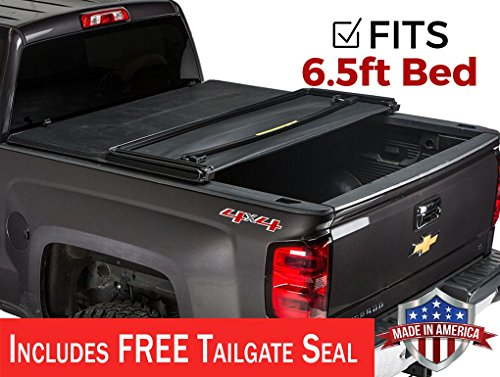Gator ETX Soft Tri-Fold Truck Bed Tonneau Cover | 59110 | fits Chevy/GMC Silverado/Sierra 1500 (6 1/2 ft bed) 2014-18, 2500/3500HD - 2015-18, 2019 1500 Legacy/Limited (Best Folding Tonneau Cover For Silverado)