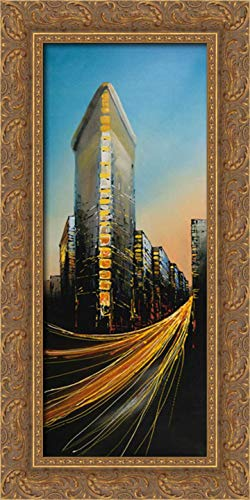 Flatiron Building in Light 11x24 Gold Ornate Wood Framed Canvas Art by Atelier B Art Studio ()