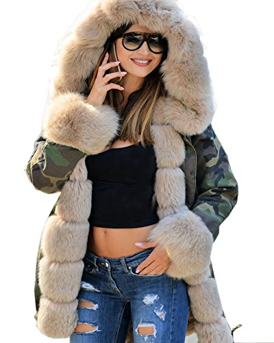 Roiii - Parka larga para mujer, con capucha Beige