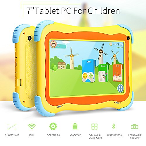 Yuntab Kids Tablet Q91 7 Inch Allwinner A33,1.3 Ghz Quad Core Google Android 5.1,Tablet PC,1G+8G,Dual Camera,WiFi,G-Sensor,Support SD/MMC/TF Card,Parental Control Software by Yuntab
