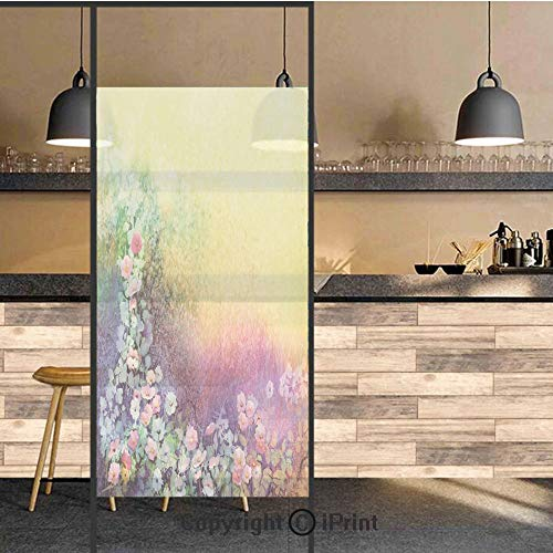 3D Decorative Privacy Window Films,Ivy Floral Beauty in Spring Soft Natural Paradise Print,No-Glue Self Static Cling Glass Film for Home Bedroom Bathroom Kitchen Office 24x48 Inch -
