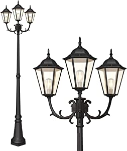 PARTPHONER Outdoor Lamp Post Light 3-Head, Waterproof Hexagon Black Street Light Pole with Clear Glass Shade for Yard, Garden, Patio, Path, Driveway