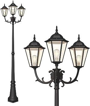 Post Outdoor Triple-Head Street Light Waterproof Lamp Garden Patio Classic Decor