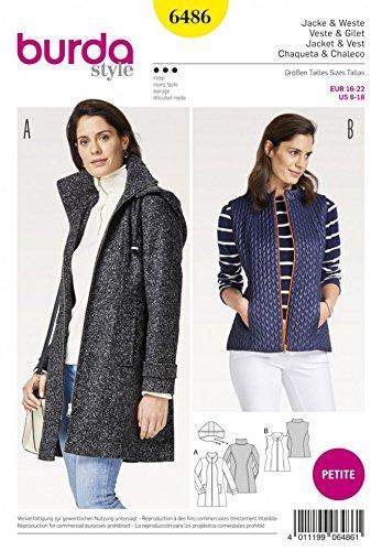 Burda Ladies Petite Sewing Pattern 6486 Jacket, Waistcoat & Detachable Hood