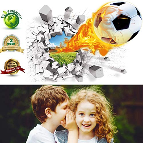 Soccer Wall Decals 3D Soccer Ball Wall Decor Art Removable Vinyl Soccer Wall Stickers Football Sports Wall Murals Decorations Basketball Décor Poster as Birthday or Xmas Gifts(Soccer Wall ()