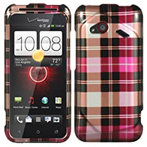 Hot Pink Checkered Hard Case Cover For HTC Droid Incredible 4G LTE 6410 Fireball w/ Free Pouch