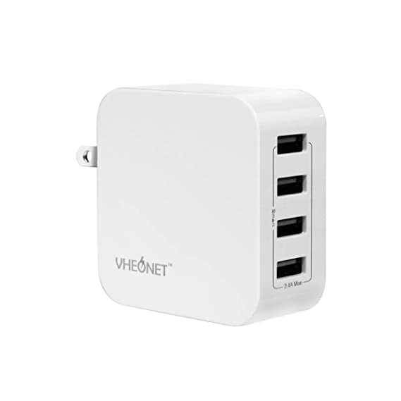4 Port USB Wall Charger 24W Multi-Port Travel Charger with Foldable Plug for iPhone Xs/XS Max/XR/X/8/7/6/Plus, iPad Pro/Air 2, Galaxy/Note, LG, Nexus