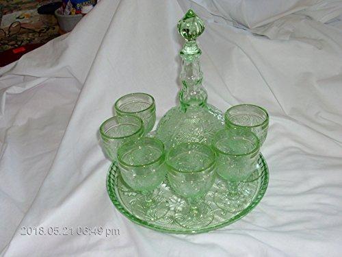 Hazel Atlas Glass Lime Green Tiara Glass Decanter Set with 6 glasses and Serviong (Hazel Atlas Glass Plates)