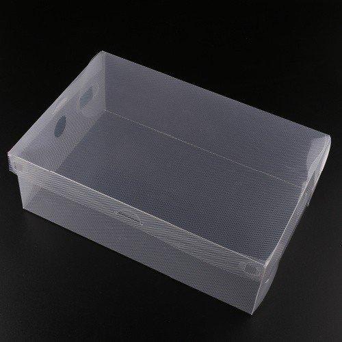 10x Transparent Clear Plastic Shoe Boxes Stackable