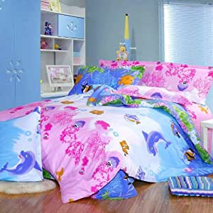 Cliab Fish Theme Bedding Sea Bedding Under the Sea Bedding Twin Full Queen Size 100% Cotton 5 Pcs (Twin)