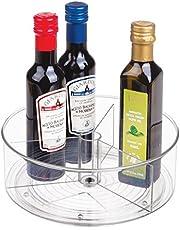 mDesign - Draaiplateau - carrousel/kruidenrek - ideale opberger in de keuken voor spijsolie, ingrediënten, kruiden, specerijen, flesjes en potjes - doorzichtig