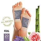 Foot Pads to Remove Impurities - FDA Certified All Natural Body Cleansing Foot Patch for Rapid Pain Relief & Improved Sleep - Aromatherapy Lavender & Rose - Upgraded 2 in 1 (20ct)