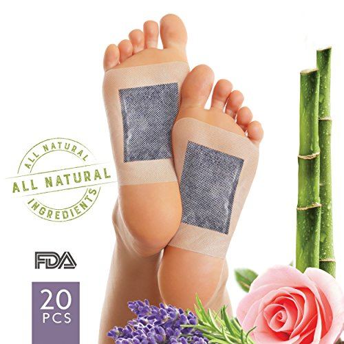 Foot Pads to Remove Impurities – FDA Certified All Natural Body Cleansing Foot Patch For Rapid Pain Relief & Improved Sleep - Aromatherapy Lavender & Rose - Upgraded 2 in 1 (20ct) Bamboo Vinegar Foot Patch