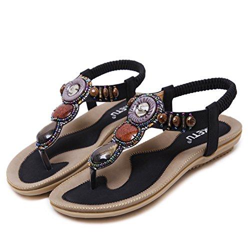 Chaussures Perle Dames Ruiren Bohème Les Post Les Noir Toe pour Femmes Sandales Ronde Plates pour Eté Elastiques Peep Sandales Plage Tongs qwq1fSZWxt