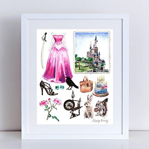 Sleeping Beauty Art Princess Aurora Print Disney Princess Painting Girls Room Decor Disney Art Disney Painting Disney Watercolor Canvas Art