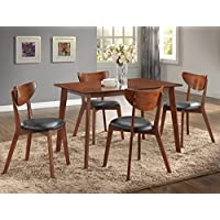 Roundhill Furniture Sacramento 5 Piece Rectangular Dining Table with Four Chairs, Dark Walnut