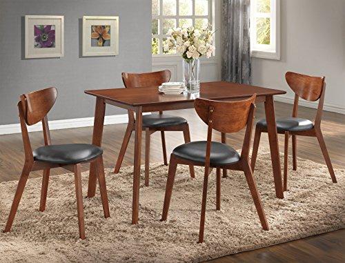 Roundhill Furniture Sacramento 5 Piece Rectangular Dining Table with Four Chairs, Dark Walnut