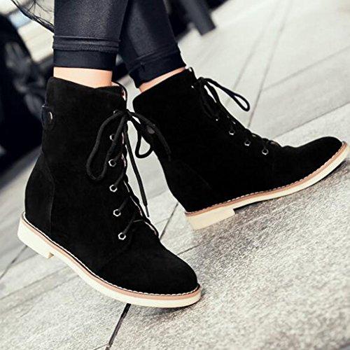 Easemax - Botas Con Cordones De Tacón Alto, Heel, Escarpidas Y Tacón Medio, De Moda, Para Mujer, Negras