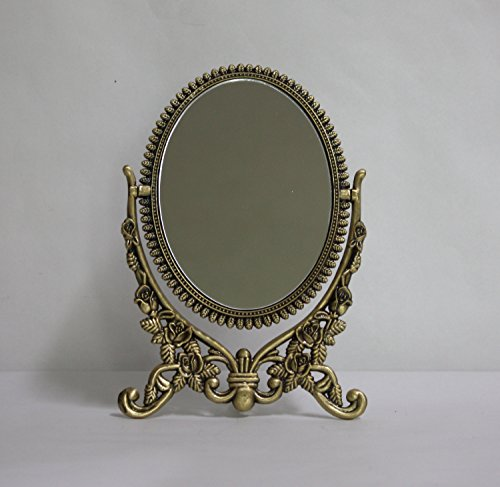 Brass Mirror Frame - SEHAMANO Vintage Antique Embossed Roses Pattern Makeup Table Mirror, Decorative Oval shaped Stand Mirror, Vanity Cosmetic Double Sided Rotatable Ellipse Metal Frame Mirror (Brass (Matt Gold), Medium)