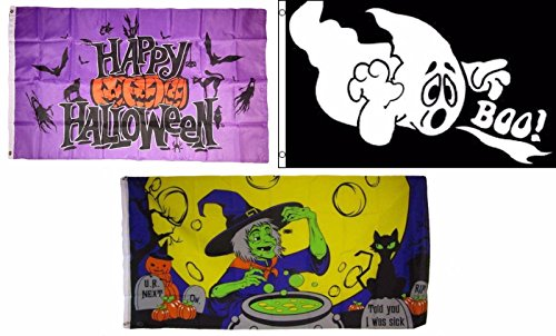 ALBATROS 3 ft x 5 ft Happy Halloween 3 Pack Flag Set #133 Combo Banner Grommets for Home and Parades, Official Party, All Weather Indoors Outdoors
