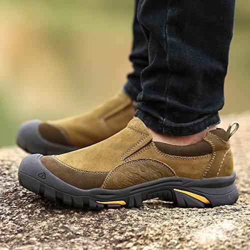 DEKESEN Mens Suede Leather Waterproof Hiking Trekking Shoes Loafers