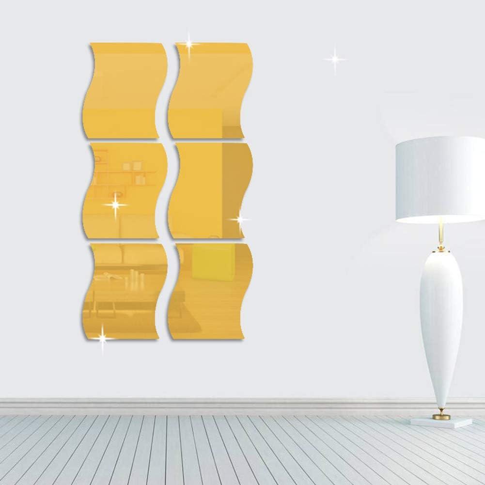 Effetto 3D 6 Adesivi da Parete a Specchio Small autoadesivi Effetto Onde Alicer StickandShine Argento