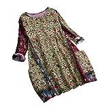 Women Loose Plus Size Blouse Casual Cotton and Linen O Neck Vintage Floral Print Tunic Top Shirt Pockets S-5XL (Green, XXXL)