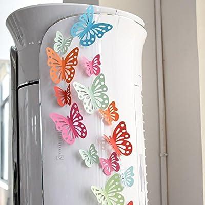 DIY Home Decor Decal, Lotus.flower 3D Hollow Emulational Butterfly Fridge Wall Stickers