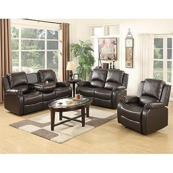 Holi Us 3 Piece Bonded Leather Recliner Sofa Sofa Setu0026 Loveseat U0026 Chair  Living