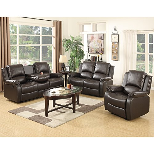 Piece Brown Leather 3 Dark (SUNCOO 3-Piece Bonded Leather Recliner Sofa Set with Cup Holder Loveseat Chair Living Room Furniture Set Brown)