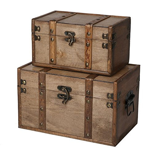 SLPR Natural Treasures Wooden Trunk Chest (Set of 2, Natural) | Decorative Old Rustic Wooden Keepsake Memory Trinket Nesting Boxes For Sale