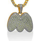 925 Sterling Silver Yellow Gold-Tone Iced Out Hip Hop Swag Bling Bubble Letter M Pendant with 20'' 1 Row Chain