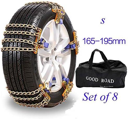タイヤチェーン スノーチェーンアンチスキッド、タイヤ幅165〜275ミリメートルロックbucle滑り止めチェーンのための緊急トラクション (Color : 8pcs, Size : S (165-205MM))