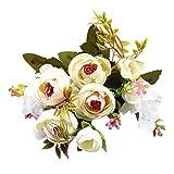 Artificial Flowers,Longay 1 Bouquet Vintage Artificial Peony Silk Flowers Bouquet for Decoration (White)