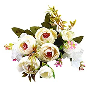 Smorran Fake Flower European Retro 5 Forks Bunch Small Tea Rose Pack Artificial Peony Silk Flowers Bouquet with a roll of Satin Ribbon for Home Bridal Wedding Party Festival Bar Decor 24